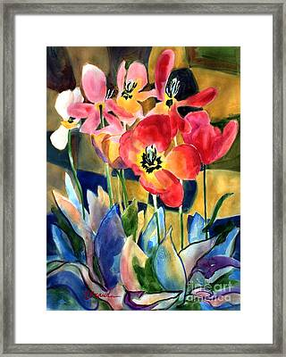 Soft Quilted Tulips Framed Print by Kathy Braud