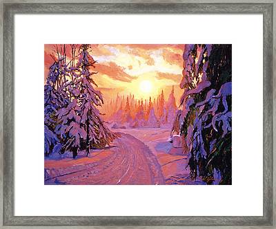 Soft Snow Sunrise Framed Print by David Lloyd Glover