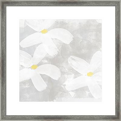 Soft White Flowers Framed Print by Linda Woods