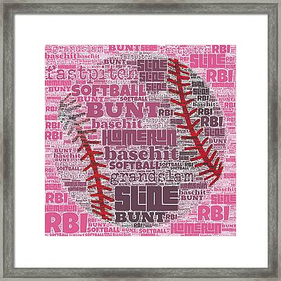 Softball  Framed Print by Brandi Fitzgerald