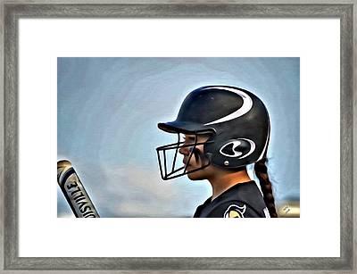 Softball Beauty Girl Framed Print by Marian Palucci-Lonzetta