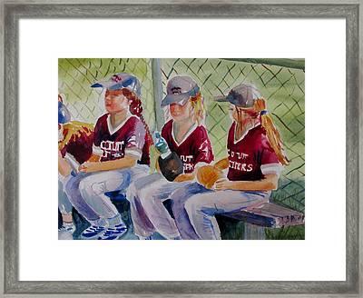 Softball  Framed Print by Linda Emerson