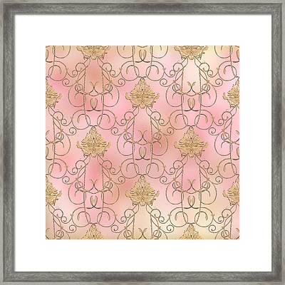 Softly Summer - French Parisian Apartment Damask Framed Print by Audrey Jeanne Roberts