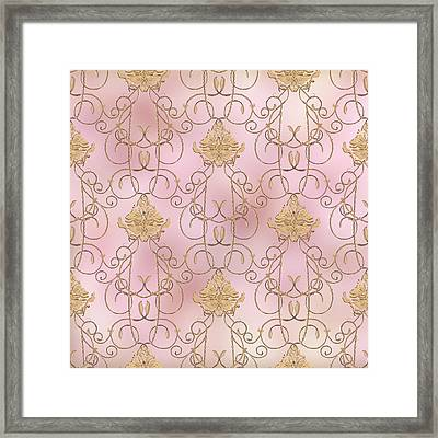 Softly Summer - French Parisian Apartment Damask Lilac Framed Print by Audrey Jeanne Roberts