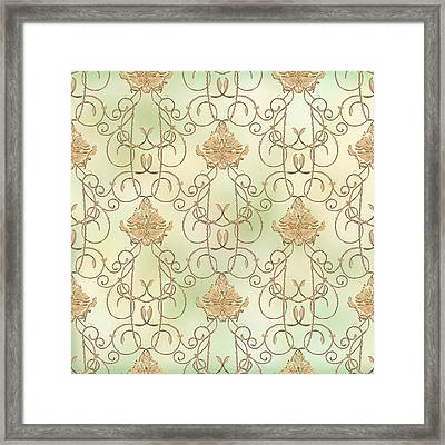 Softly Summer - French Parisian Apartment Damask Mint Framed Print by Audrey Jeanne Roberts
