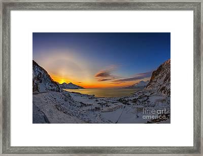Solar Halo And Sun Pillar, Norway Framed Print by Babak Tafreshi