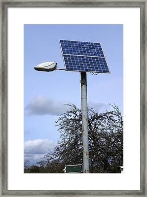 Solar Powered Street Light, Uk Framed Print by Mark Williamson