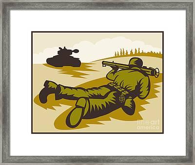 Soldier Aiming Bazooka Framed Print by Aloysius Patrimonio