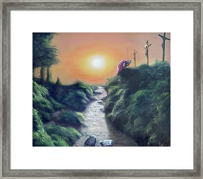 Soldier At The Cross Framed Print by Larry Cole
