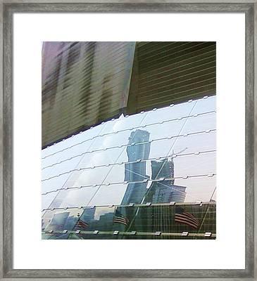 Soldier Field Reflection Framed Print by Anna Villarreal Garbis
