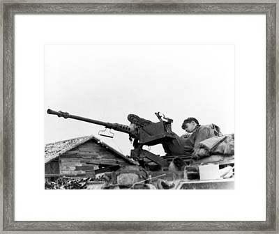 Soldier Napping Framed Print by Underwood Archives
