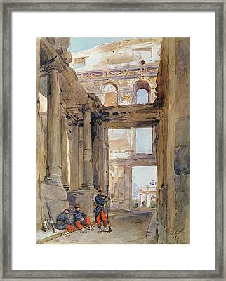 Soldiers In The Ruins Of The Tuileries Framed Print by Isidore Pils