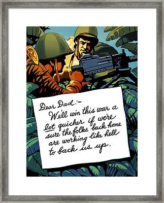 Soldier's Letter Home To Dad -- Ww2 Propaganda Framed Print by War Is Hell Store