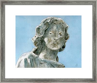 Solitude. A Cemetery Statue Framed Print by Brenda Owen