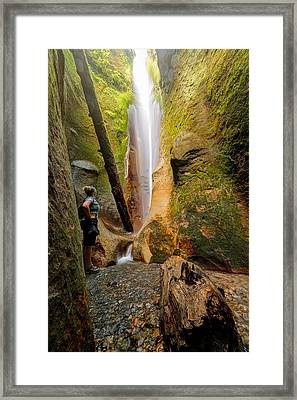 Sombrio Beach Falls  Framed Print by Heather K Jones