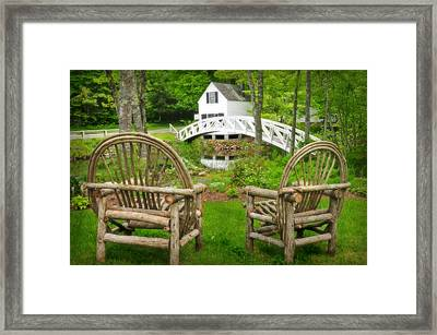 Somesville Maine - Arched Bridge Framed Print by Thomas Schoeller