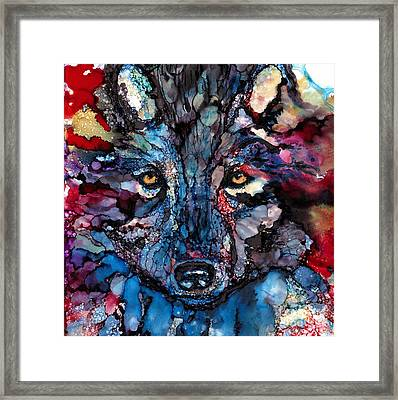 Soulful Wolf Framed Print by Jane Marlin
