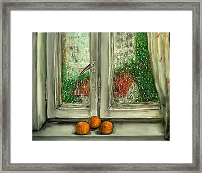 Sound Of Rain  Oil Painting Framed Print by Natalja Picugina