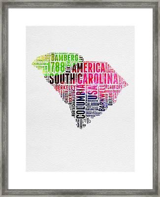 South Carolina Watercolor Word Cloud Framed Print by Naxart Studio