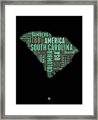 South Carolina Word Cloud 2 Framed Print by Naxart Studio