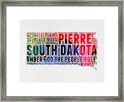 South Dakota Watercolor Word Cloud Framed Print by Naxart Studio