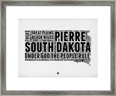 South Dakota Word Cloud 1 Framed Print by Naxart Studio