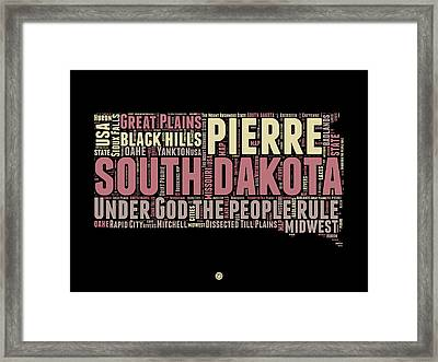 South Dakota Word Cloud 2 Framed Print by Naxart Studio