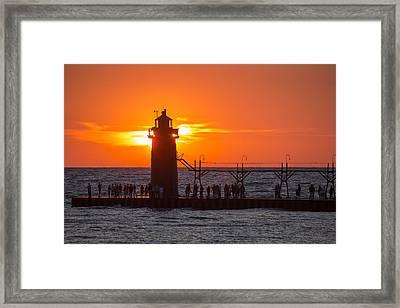 South Haven Michigan Sunset Framed Print by Adam Romanowicz