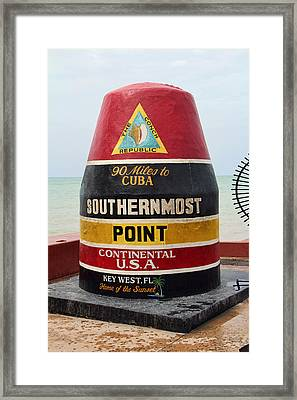 South Point U. S. A. - 90 Miles To Cuba Framed Print by Daniel Hagerman