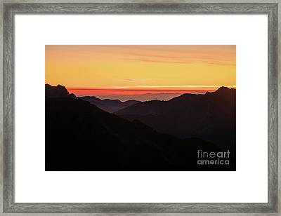 South Sound Sunset Layers Framed Print by Mike Reid