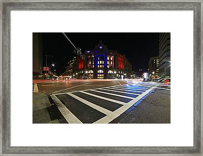 South Station Boston Ma Movement In The Night In Red, White And Blue Framed Print by Toby McGuire