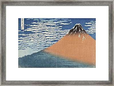 South Wind Clear Dawn Framed Print by Katsushika Hokusai