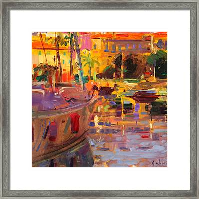 Southern French Port Framed Print by Peter Graham
