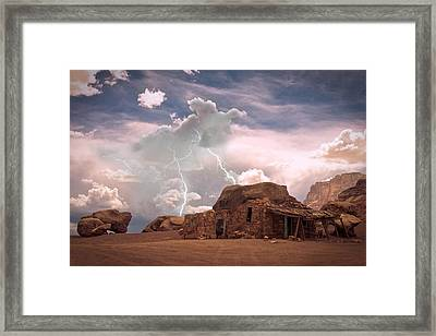 Southwest Navajo Rock House And Lightning Strikes Framed Print by James BO  Insogna