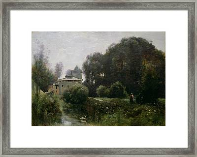Souvenir Of The Villa Borghese Framed Print by Jean Baptiste Camille Corot