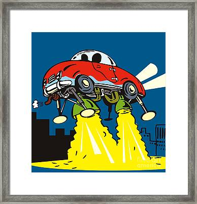 Space Car Taking Off Framed Print by Aloysius Patrimonio