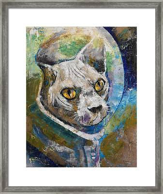 Space Cat Framed Print by Michael Creese
