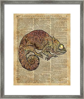 Space Chameleon Zentagle Dictionary Art Framed Print by Jacob Kuch
