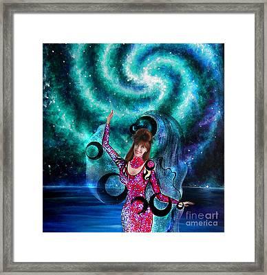 Space Dancer With Black Moons. Sofia Goldberg Of Ameynra Framed Print by Sofia Goldberg
