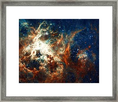 Space Fire Framed Print by The  Vault - Jennifer Rondinelli Reilly