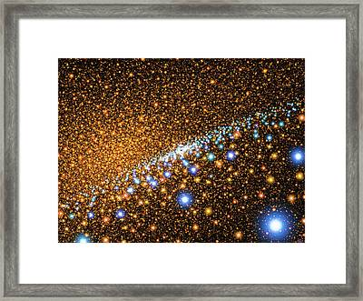 Space Image Andromeda Galaxy Gold And Blue Framed Print by Matthias Hauser