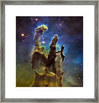 Space Image Eagle Nebulas Pillars Of Creation Framed Print by Matthias Hauser