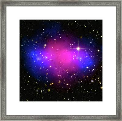 Space Image Galaxy Cluster Purple Blue Black Framed Print by Matthias Hauser