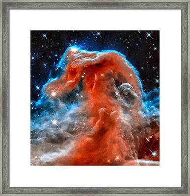 Space Image Horsehead Nebula Orange Red Blue Black Framed Print by Matthias Hauser