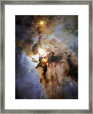 Space Image Lagoon Nebula Orange Brown Blue Framed Print by Matthias Hauser