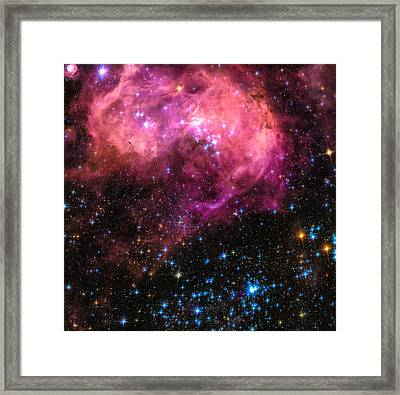 Space Image Large Magellanic Cloud Pink Blue Black Framed Print by Matthias Hauser