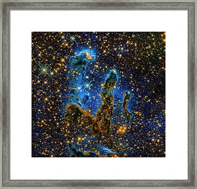 Space Image Pillars Of Creation Infrared Light Framed Print by Matthias Hauser