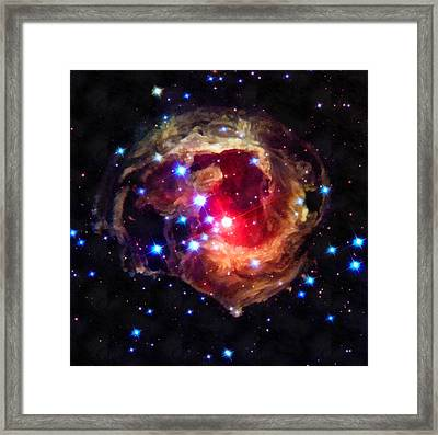 Space Image Red Star In The Universe Framed Print by Matthias Hauser