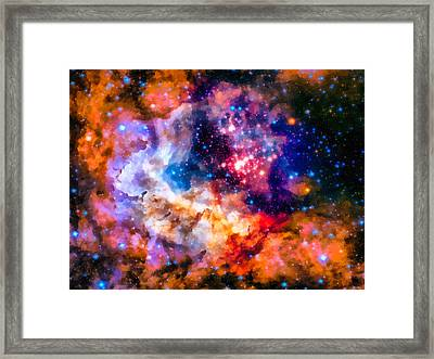 Space Image Star Cluster And Nebula Framed Print by Matthias Hauser