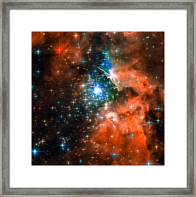 Space Image Star Cluster Orange Blue Framed Print by Matthias Hauser